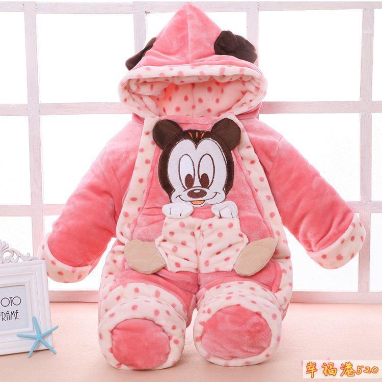 High quality Plus velvet thickening newborn infant baby winter romper mickey long sleeve unixes sleeping bag
