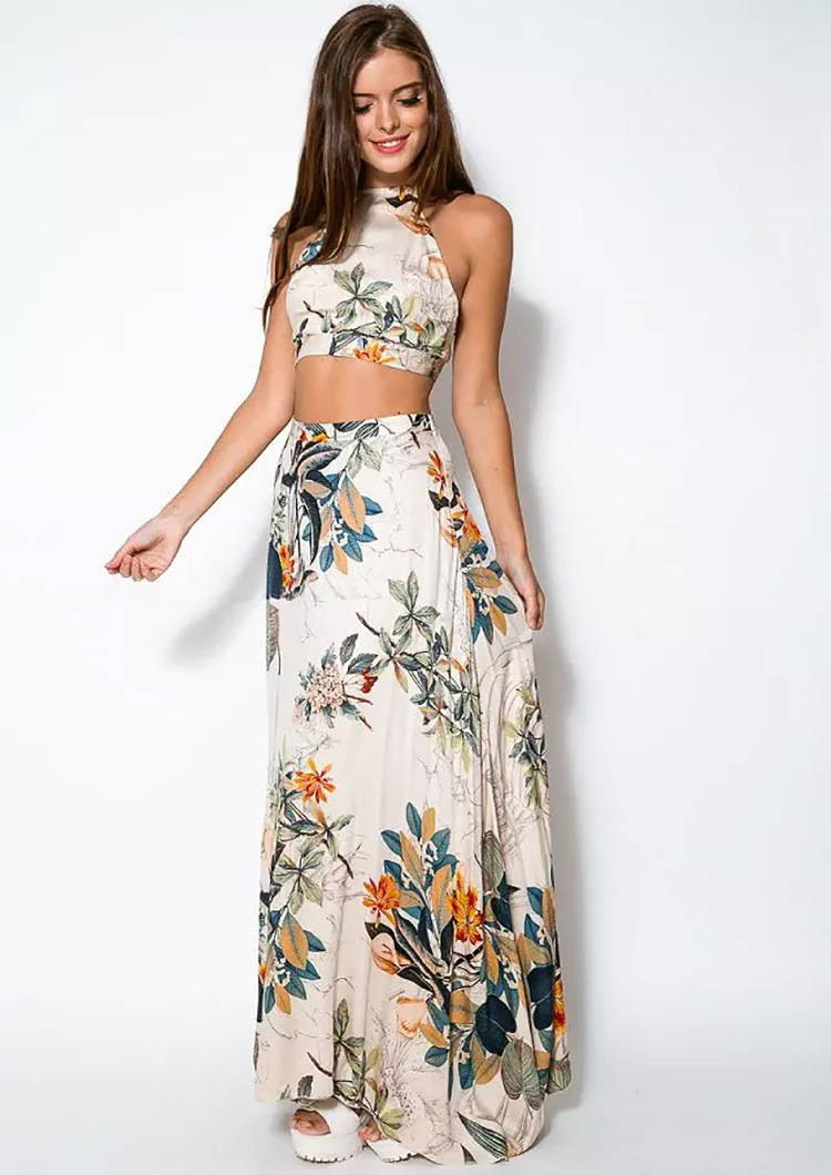 3cb0bb3913a30 2 Piece Sexy Sleeveless Print Long Dress 2018 Women Summer Floral Maxi  Dresses Ladies Backless Cotton vestidos 945