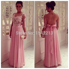 Brasil Style Fashion Rude Pink Long Evening Dress With Sleeves Vestido Formales Prom Party Gowns New Arrival 2014