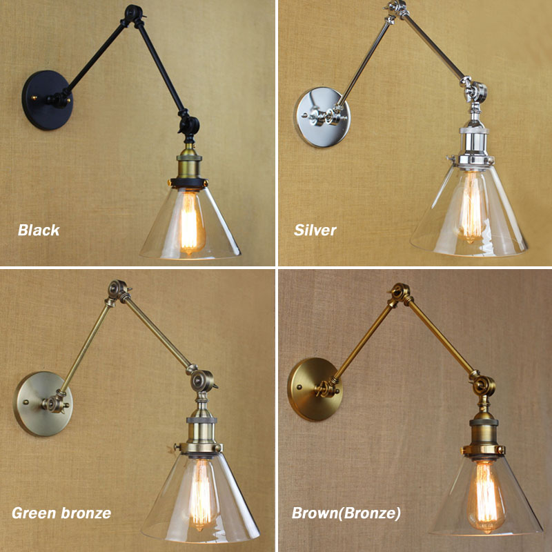 Retro Swing Arm Wall Lamp Glass Shade Vintage Wall Sconces