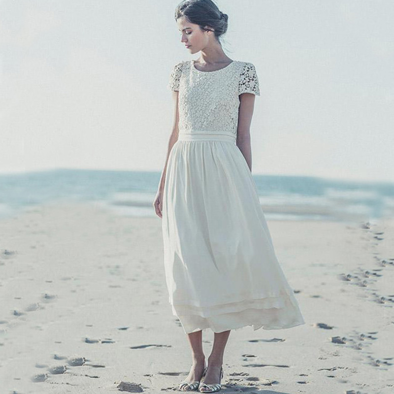 Vintage Lace Tea Length Beach Wedding Dress Short Sleeves: Vintage Lace Tea Length Beach Wedding Dress Short Sleeves