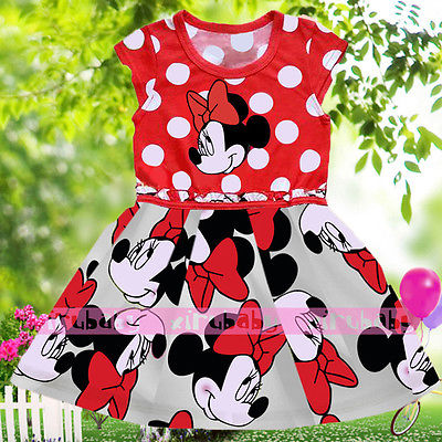 Baby Kids Girls Minnie Mouse Bowknot Cosplay Printing Dress