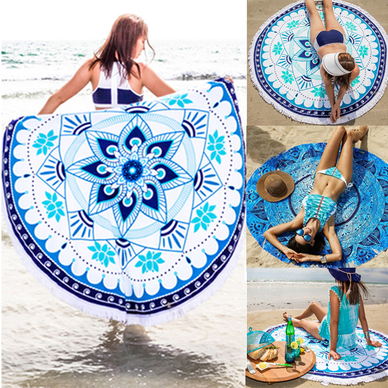 2016 Fashion Indian Mandala Tapestry Hippie Round Wall Hanging Bohemian Beach Throw Towel Blanket Yoga Mat Home Rug Decor 148cm