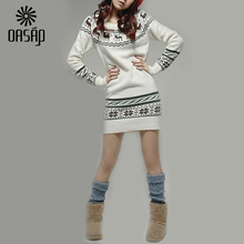 OASAP Deer Printing Long Sleeve Slim Jumper Winter New Korean Ladies Fashion Cute Cartoon Deer bottoming Sweater Coat