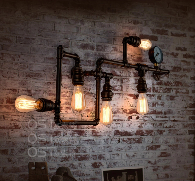 Bar Lamp Decoration: American-Vintage-Industrial-Water-Pipe-Wall-Lamp-Inon
