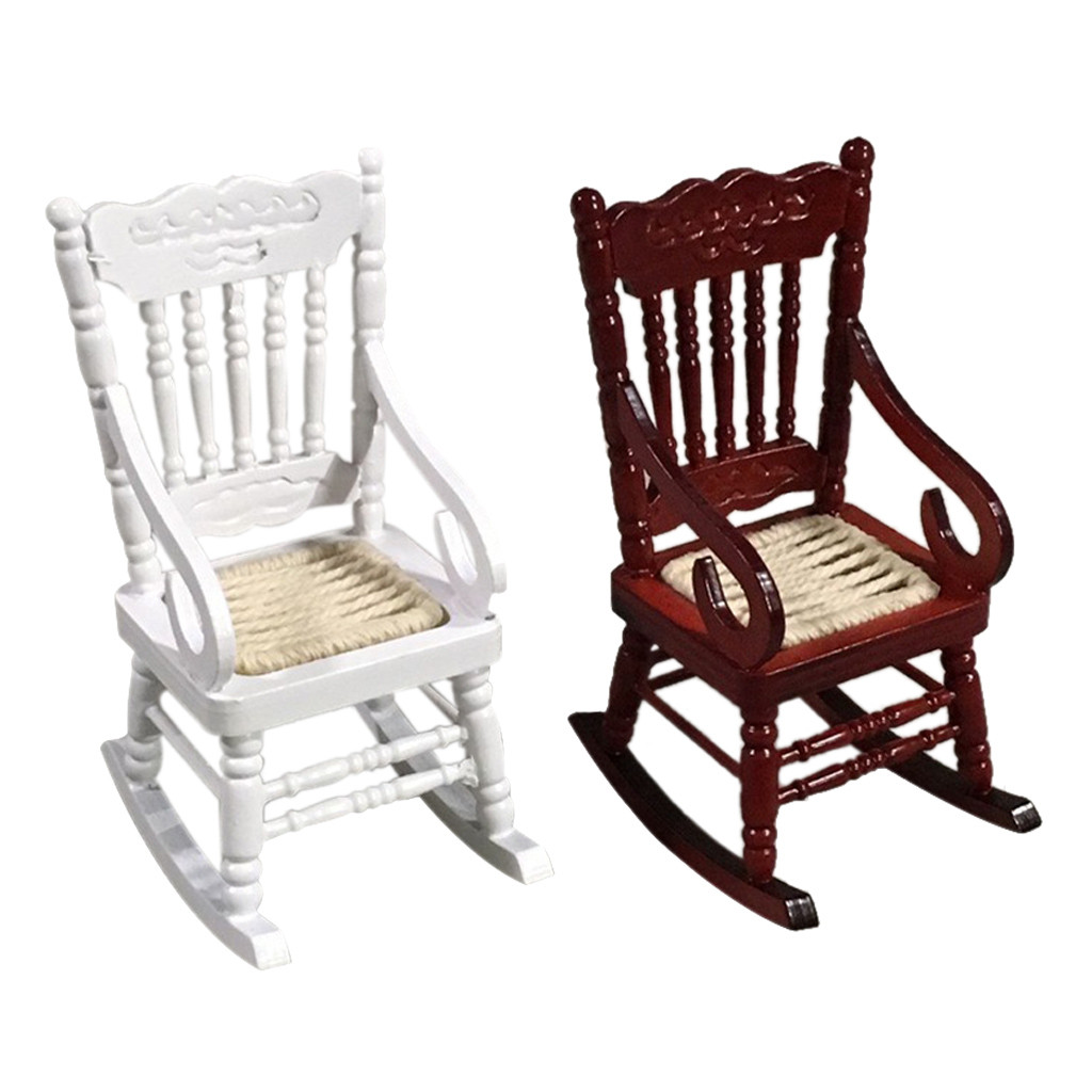 New 1 12 Dollhouse Miniature Furniture White Wooden Rocking Chair