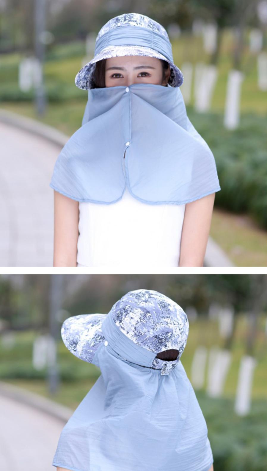 43c831a2e93c6 Ladies Summer Outdoor Hat Sun Protection Head - Face Anti-UV Folding ...