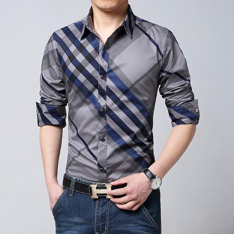 Compra Rojo blanco camisa a cuadros de los hombres online