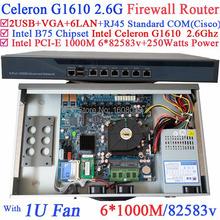 Celeron G1610 industrial 1U firewall server barebone system with 6*1000M 82583v Lan Wayos PFSense Mikrotik Panabit ROS support