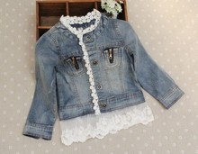 High Quality 2016 Children Spring jacket With Lace toddler girl blazer brand  toddler outerwear jackets girl kids denim jacket