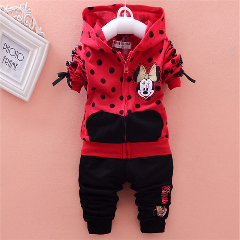 baby girls clothing sets cartoon minnie mouse 2015 winter children s wear cotton casual tracksuits kids