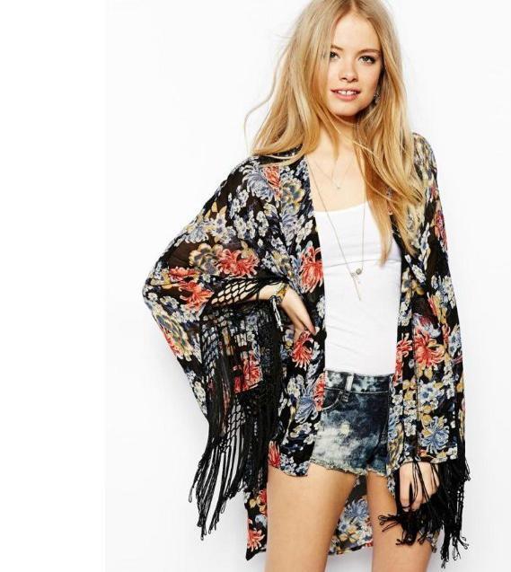640c497d4c46c Wholesale-2015 fashion New Women Ladies Vintage Floral Printed Tassel  Kimono Jacket Casual Loose Sun Protection Summer Outerwear#C0532