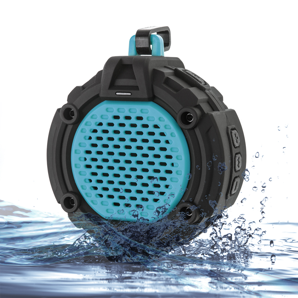 Bluetooth 4 0 outdoor speaker w mic hook flashlight - Waterproof sound system for bathroom ...