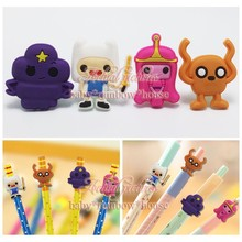4pcs/lot Adventure Time Pencil Cap / CasePencil Topper Writing Supplies office Stationery Gifts Pencil Accessories Kids Gifts