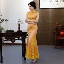 Зеленое винтажное платье в китайском стиле, длинное платье в стиле ретро, платье Ципао для свадьбы, вечернее платье, платье для вечеринки, ...(China)