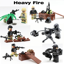 Heavy Machine Gun Rocket Special Forces Battle SWAT World War CS Navy Seals Team BDU legoelieds Minifigures  Building Bricks