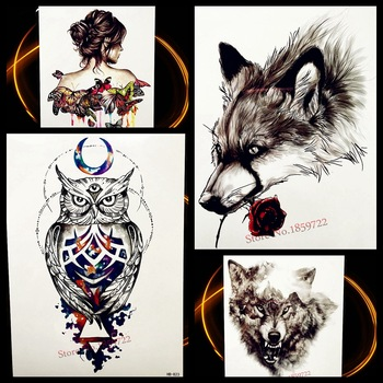 3D Sex Black Wolf King With Red Rose Temporary Tattoo Stickers For Women Body Art Arm Fake Flash Waterproof Tattoo Men Decal