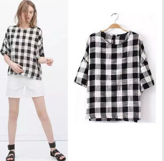 Womens Black And White Checkered Shirt | Artee Shirt