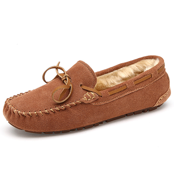 New 2015 winter women genuine leather loafers soft flat