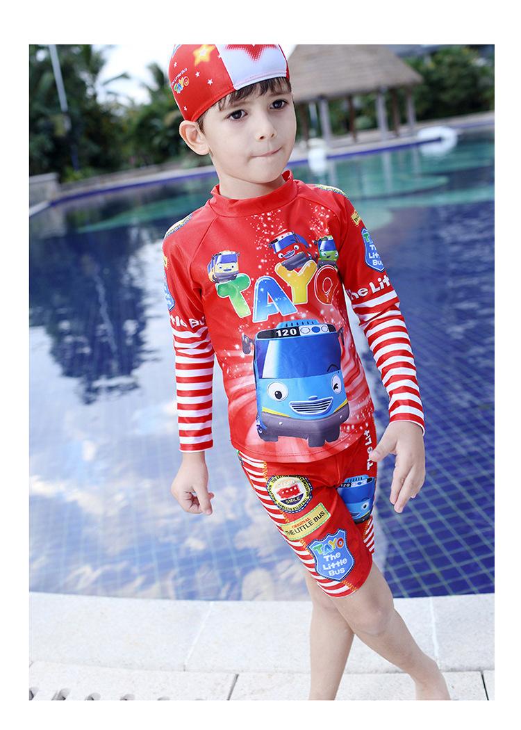 3b1e652ad6 2016 fashion style cartoon kids bathing suit boys bathing suit cute  children swimwear boys swimwear with red white stripes   Nice plus size  clothing shop ...