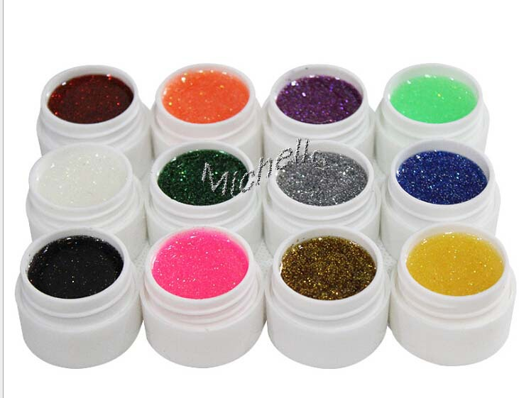 Nail Art 12 Colors Manicure UV Gel Mix Glitter Buliding Polish Set Solid Pigment Builder Acrylic