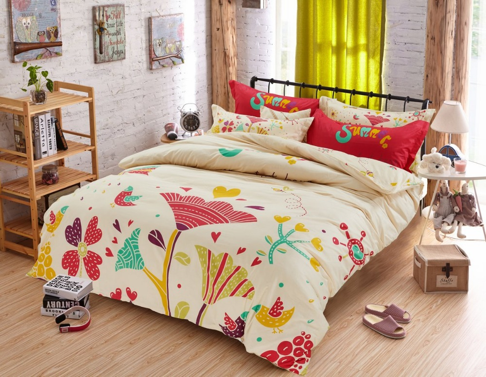 new arrival 100 cotton full twin size comforter sets bed sheet 3 4 pcs colorful flowers bedding. Black Bedroom Furniture Sets. Home Design Ideas