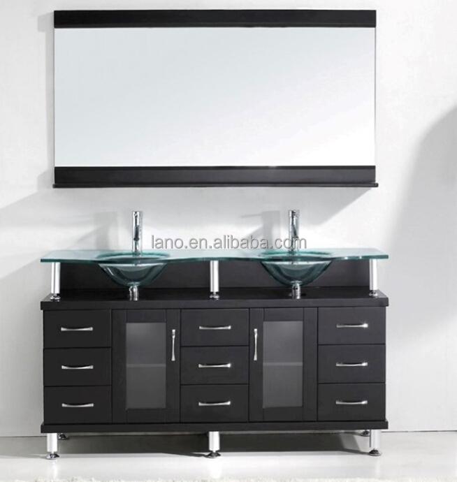 56 Inch Modern Free-standing Double Sink Bathroom Vanity ...