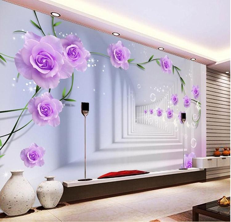 Elegant Photo Wallpaper Custom 3D Wall Murals Purple Flowers wallpaper Kids Bedroom Interior Design Room decor - Lichtblauw Behang