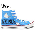 Wen Blue Hand Painted Canvas Shoes One Piece Luffy Laughs Anime Men Women s High Top