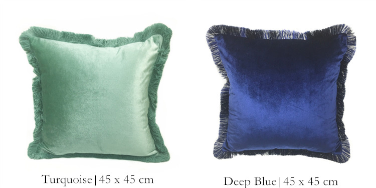 Free Shipping Solid Brown Turquoise Blue Shiny Soft Velvet Cushion Cover  Fringe Pipping Decorative Sofa Pillow Case 45 x 45 cm - us722 6f581be2c399