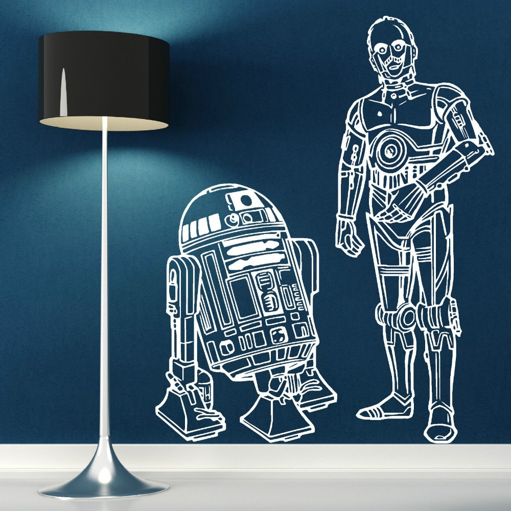star wars r2d2 and c3po droids duo removable vinyl wall art room sticker wall decal kids boy 39 s. Black Bedroom Furniture Sets. Home Design Ideas