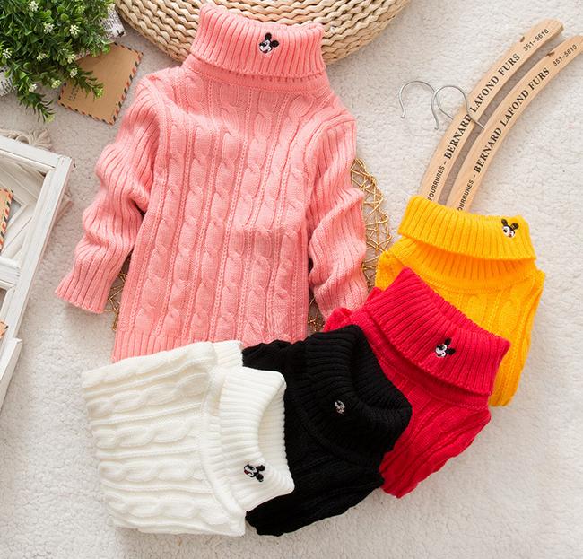 Unisex Color Sólido del Invierno del Otoño Bebé Niño Niña bebé Suéter de  Cuello Alto Suéter prendas de Vestir Exteriores  e29892430fa