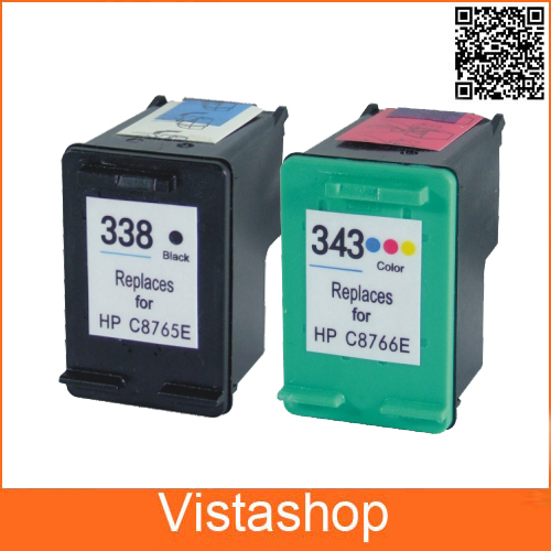 2 Pcs For HP 338 343 Ink Cartridges For HP338 343 ...