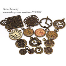 Antique Metal Zinc Alloy Mixed Clock Charms Pendant for Jewelry Making Diy Decorative Clock Charms 15Pcs/lot C8498