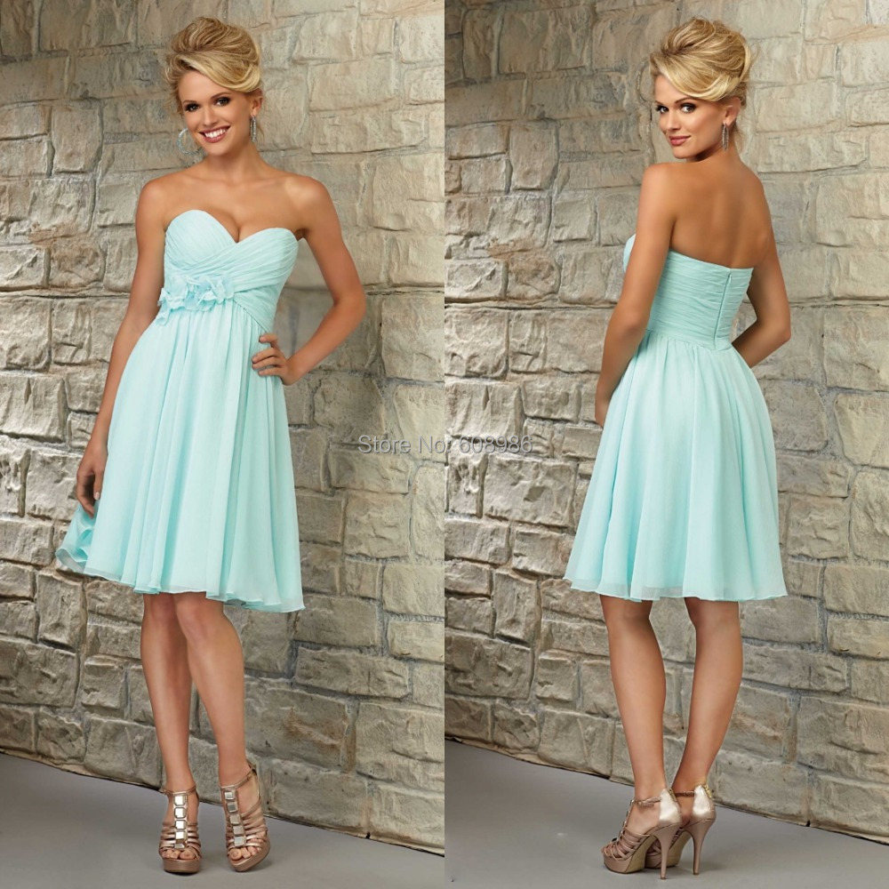 Sexy Short Knee Length Gown Maid Of Honor Sky Blue Beach