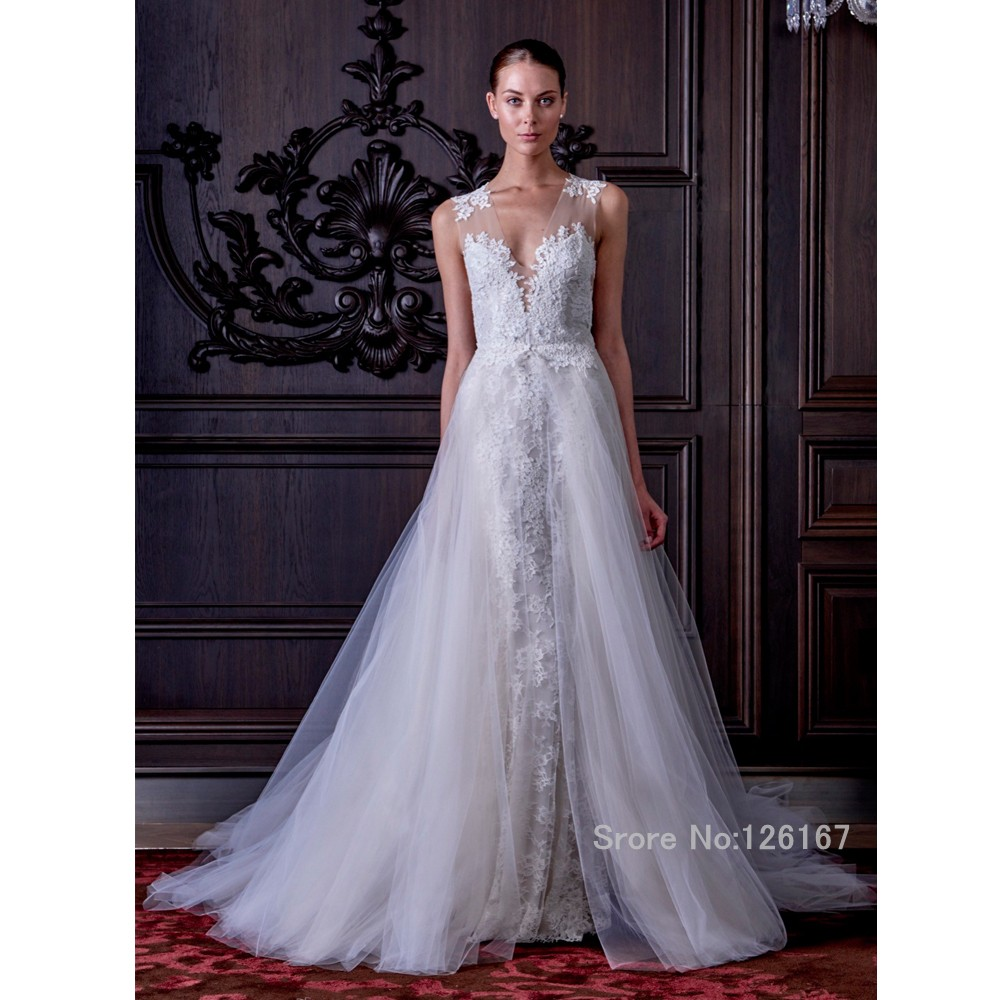 Detachable Trains For Wedding Gowns: Detachable Train Wedding Dress 2016 Lace Wedding Gowns