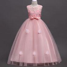 Детское бальное платье с цветами для девочек на свадьбу, формальное платье, молодежное платье без рукавов с кружевной аппликацией, 4-14 лет, ...(China)