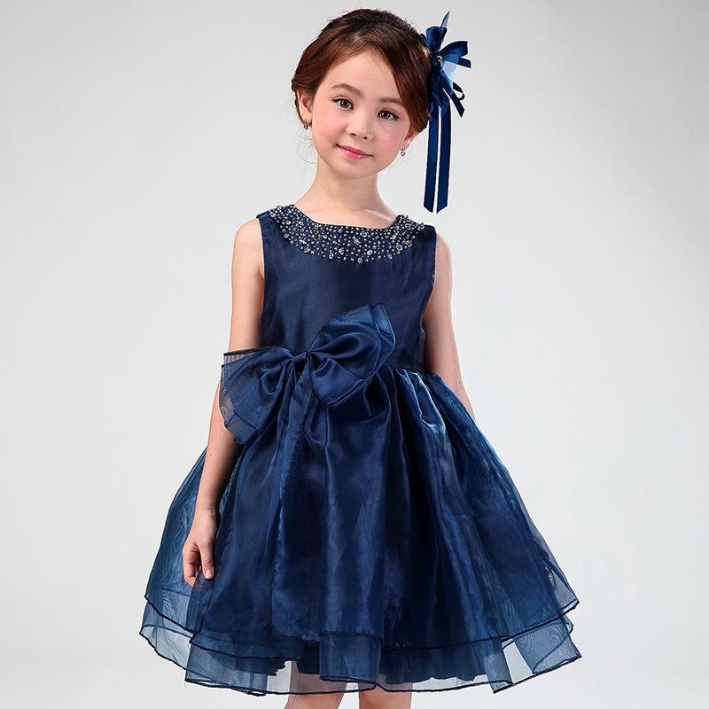 Flower Girl font b Dresses b font Child Navy Blue Sleeveless font b Fancy b font