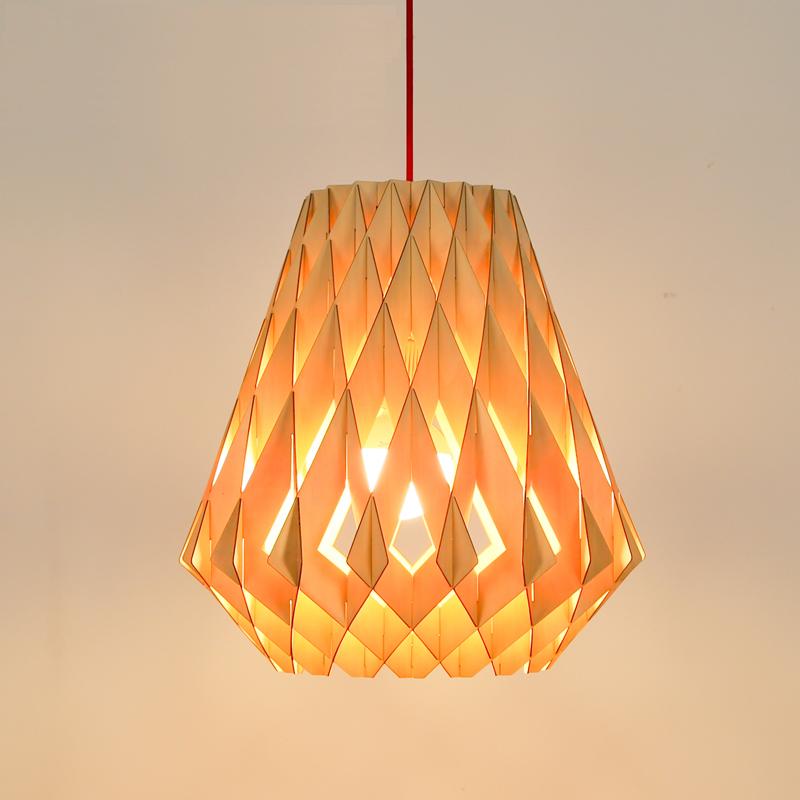 1 Set 15*16 Inch Wooden Pendant Light Diamond Shape