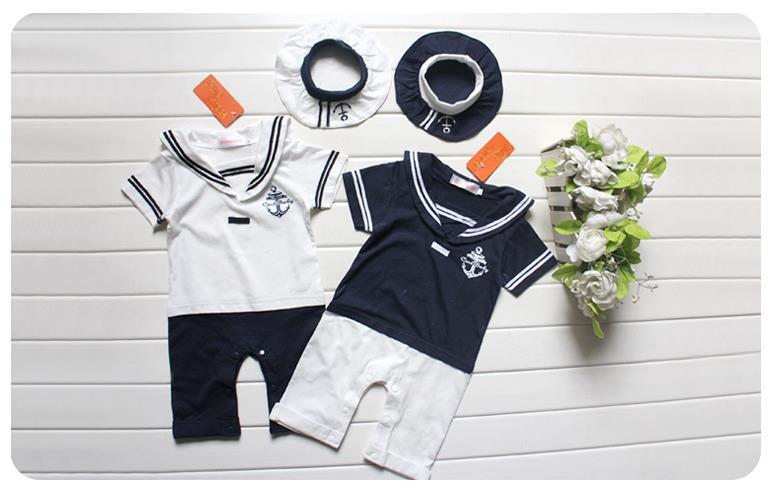 ec3605e537aa 2019 Wholesale Baby Boy Girl Sailor Romper Clothes Suit Grow Outfit ...