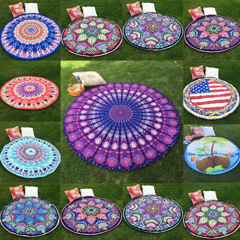 Round Indian Mandala Tapestry Hippie Wall Hanging Tapestries Boho Shawl Beach Throw Towel Yoga Mat Tablecloth Home Decor 150cm