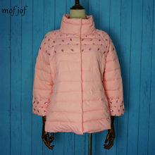womens font b winter b font jackets and coats 3 4 sleeve solid color with crystal