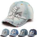 2016 Summer Women Baseball Cap Sunbonnet Cap Handmade Novelty Rhinestone Star Pasted Hat Snapback Caps For