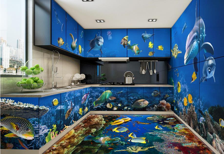 3d Stereoscopic Wallpaper Custom 3d Flooring Pvc Self Adhesive Wallpaper Dolphin 3d Floor Tiles