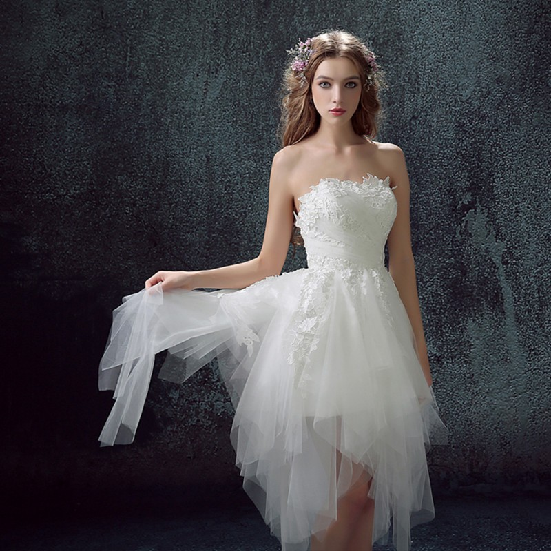 2016 High Fashion Sexy Ruched Tulle Wedding Dress Short