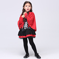 Red Little Girl Cosplay Costumes Hooded Cloak Dress Halloween Stage Performance Costumes Fancy Kids carnival party