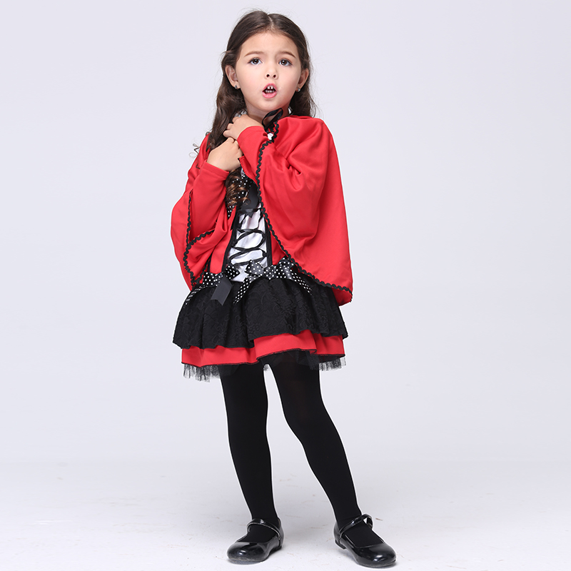 Red Little Girl Cosplay Costumes Hooded Cloak font b Dress b font Halloween Stage Performance Costumes