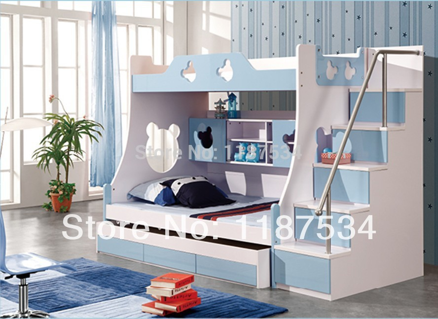 860# Children Furniture Sets With Drawers Bunk Bed Double