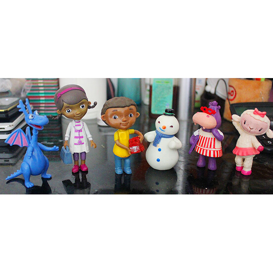 6 Pcs Set Doc McStuffins PVC Action Figures Doctora Juguetes Animal Doll Lambie Dragon Hallie Toys