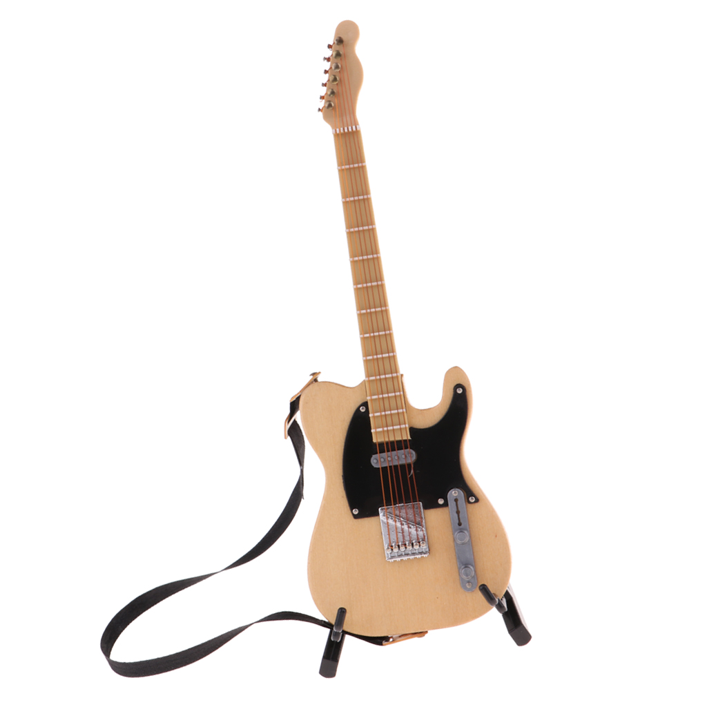 1:6 Scale Wooden Beige Guitar with Box for Dollhouse Miniature Accessories
